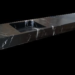 Lavabo de mármol modelo AM130 en color negro marquina